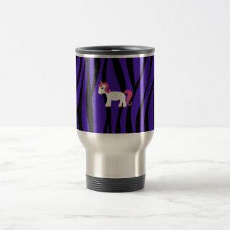 Rayas púrpuras de la cebra del unicornio tazas