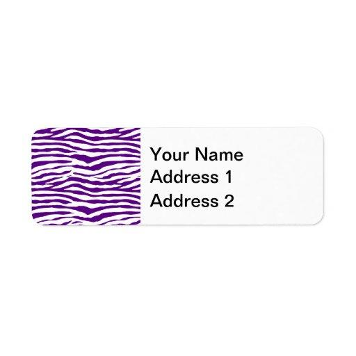 Rayas púrpuras de la cebra etiqueta de remite