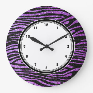 Rayas púrpuras de la cebra (falso brillo bling) reloj