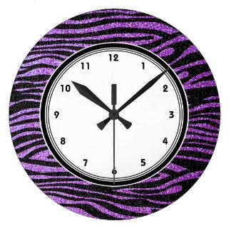 Rayas púrpuras de la cebra (falso brillo bling) reloj redondo grande