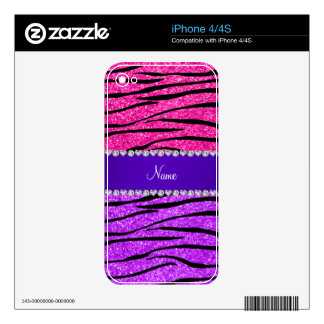 Rayas púrpuras de neón conocidas de la cebra del iPhone 4S calcomanía