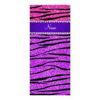 Rayas púrpuras de neón conocidas de la cebra del tarjeta publicitaria a todo color