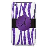Rayas púrpuras del brillo del monograma iPod Case-Mate cobertura