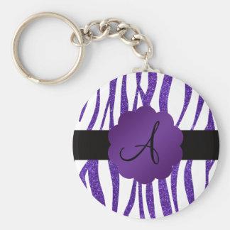 Rayas púrpuras del brillo del monograma llaveros personalizados