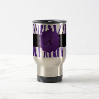 Rayas púrpuras del brillo del monograma taza