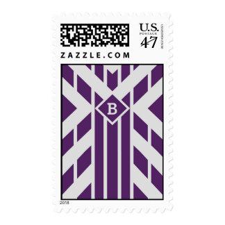 Rayas púrpuras del cuadrilátero con el monograma - timbres postales