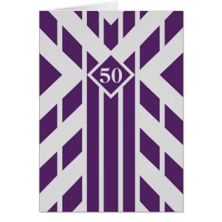 Rayas púrpuras del cuadrilátero en el 50.o tarjeta de felicitación