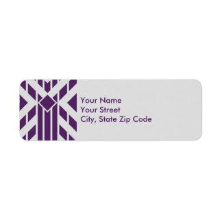 Rayas púrpuras del paralelogramo en etiqueta de etiqueta de remitente