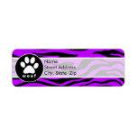 Rayas púrpuras eléctricas de la cebra; Impresión d Etiqueta De Remite