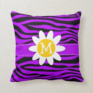 Rayas púrpuras eléctricas de la cebra Margarita Cojines