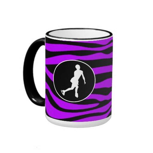 Rayas púrpuras eléctricas de la cebra; Patinaje ar Tazas De Café