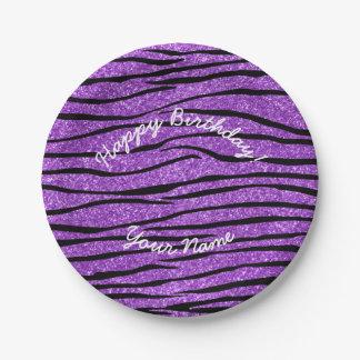 Rayas púrpuras en colores pastel de la cebra del platos de papel
