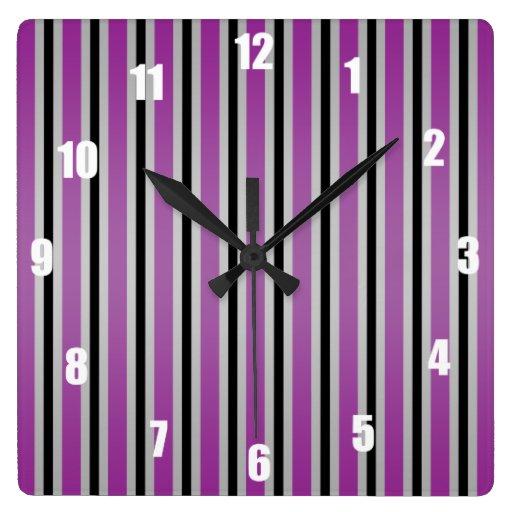Rayas púrpuras negras grises reloj de pared