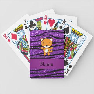 Rayas púrpuras personalizadas de la cebra del bril barajas