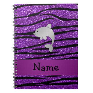 Rayas púrpuras personalizadas de la cebra del delf libretas espirales