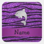 Rayas púrpuras personalizadas de la cebra del delf pegatina cuadradas personalizada
