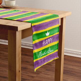 Rayas púrpuras pintadas a mano del oro verde del camino de mesa mediano
