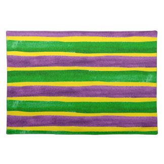 Rayas púrpuras pintadas a mano del oro verde del mantel individual