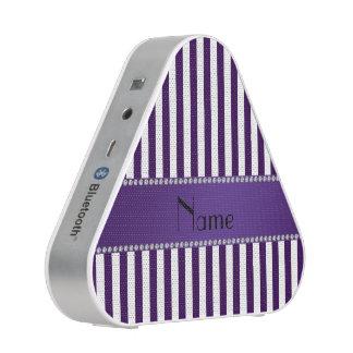 Rayas púrpuras y blancas conocidas personalizadas altavoz bluetooth