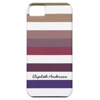 Rayas púrpuras y blancas del ciruelo personalizado iPhone 5 Case-Mate fundas