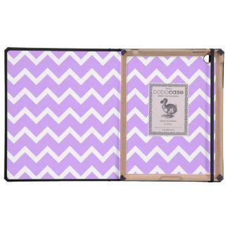 Rayas púrpuras y blancas del zigzag iPad protectores
