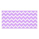 Rayas púrpuras y blancas del zigzag tarjeta con foto personalizada