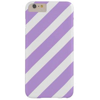 Rayas púrpuras y blancas funda de iPhone 6 plus barely there