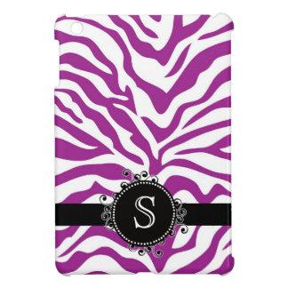 Rayas púrpuras y blancas salvajes de la cebra iPad mini funda