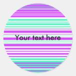 Rayas púrpuras y marinas blancas contemporáneas etiqueta redonda