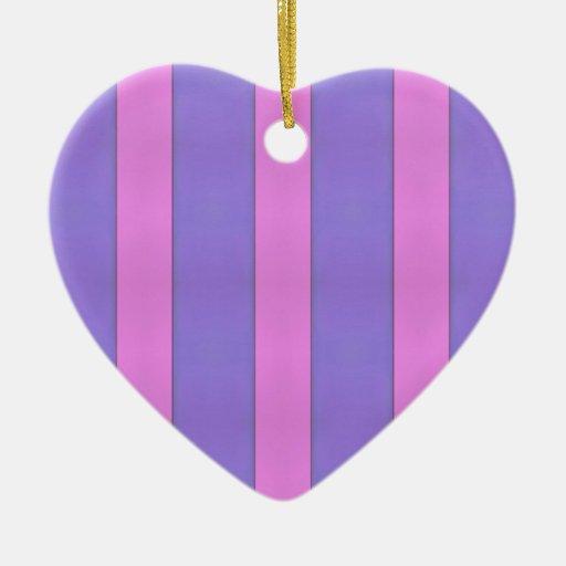 Rayas púrpuras y rosadas del arte abstracto adorno navideño de cerámica en forma de corazón