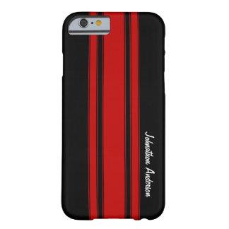 Rayas que compiten con rojas y negras modernas con funda de iPhone 6 barely there