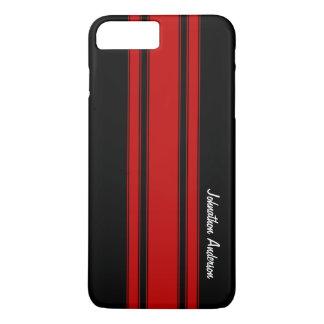 Rayas que compiten con rojas y negras modernas con funda iPhone 7 plus