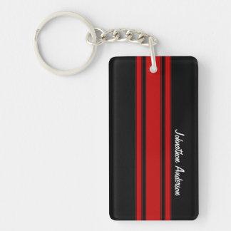 Rayas que compiten con rojas y negras modernas con llavero rectangular acrílico a doble cara