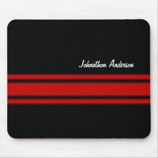Rayas que compiten con rojas y negras modernas con tapetes de raton