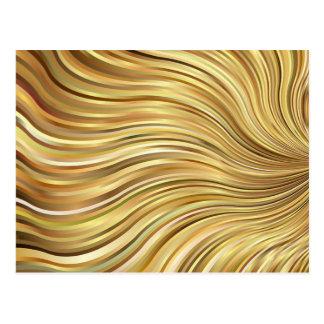 Rayas que fluyen abstractas del oro elegante postales