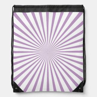 Rayas radiantees púrpuras y blancas de la lavanda mochila