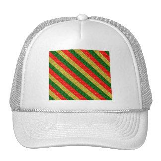 Rayas relucientes rojas y verdes del oro del gorras