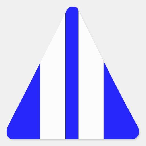 Rayas retras azules y blancas clásicas de las pegatinas de triangulo personalizadas