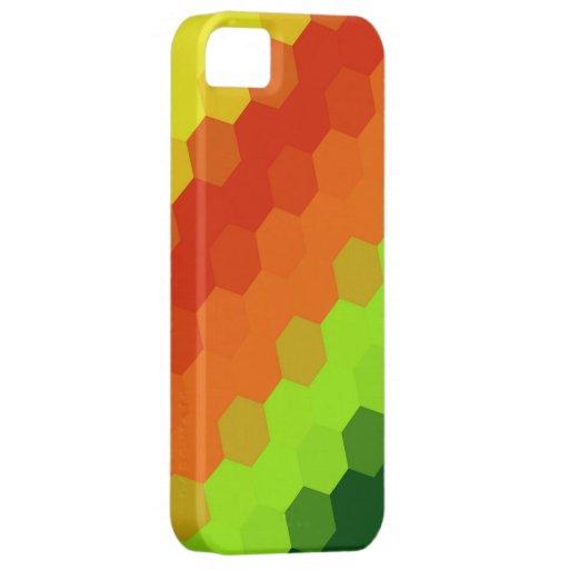 Rayas retras de la cal del hexágono del amarillo v iPhone 5 protector