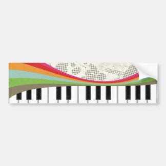Rayas retras de los colores del piano de moda impr pegatina de parachoque