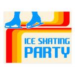 rayas retras: invitación del fiesta del patinaje d postales