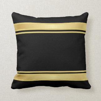 Rayas ricas del negro y del oro cojín decorativo