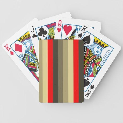 Rayas rojas al verde verde oliva profundo baraja cartas de poker