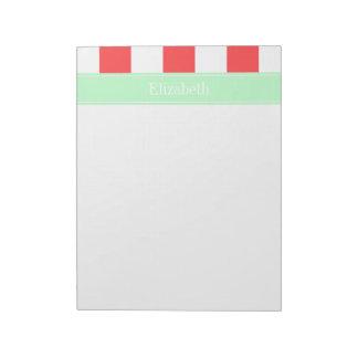 Rayas rojas, blancas coralinas del XL, monograma c Libretas Para Notas