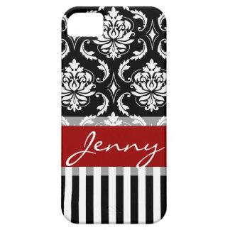 Rayas rojas, blancas, negras del damasco iPhone 5 Case-Mate carcasas