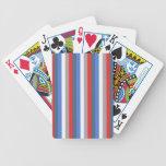 Rayas rojas, blancas y azules baraja de cartas