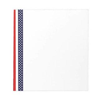 Rayas rojas, blancas, y azules bloc de papel