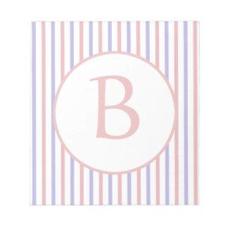 Rayas rojas, blancas, y azules con el monograma blocs de papel