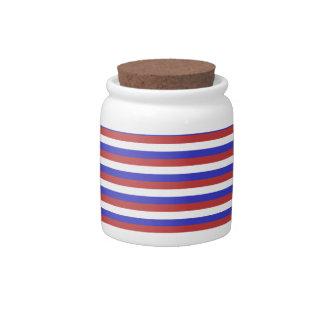 Rayas rojas, blancas y azules jarra para caramelo