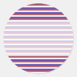 Rayas rojas, blancas y azules pegatina redonda